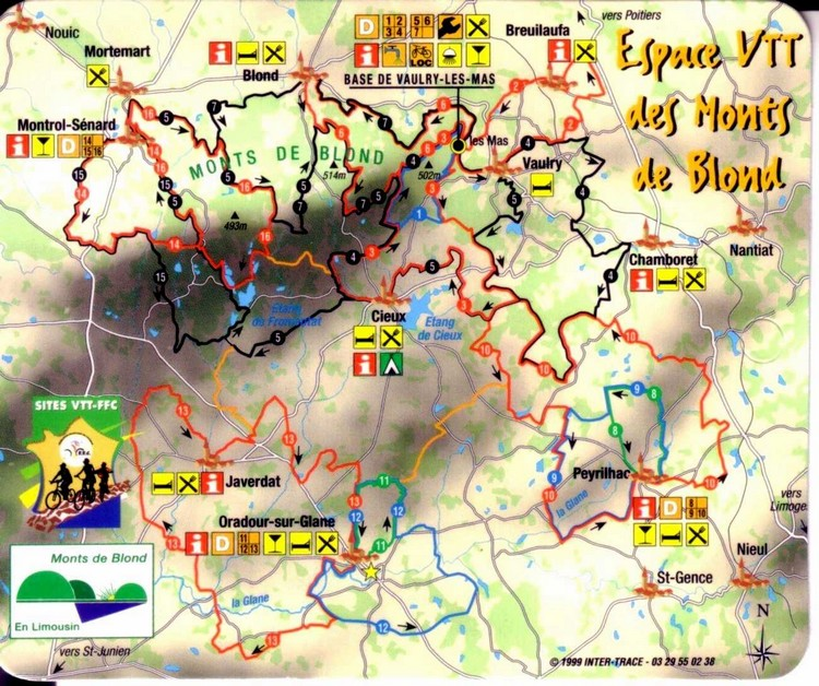 Carte des circuits VTT des Monts de Blond
